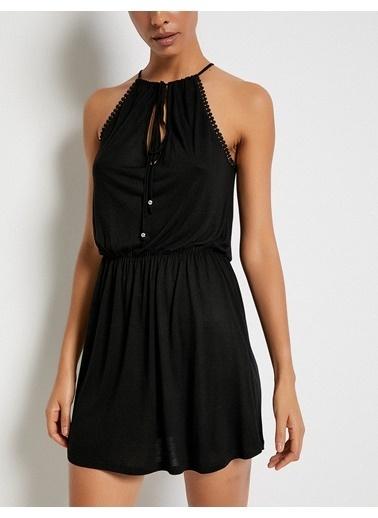 Koton Yaka Detaylı Mini Elbise Siyah